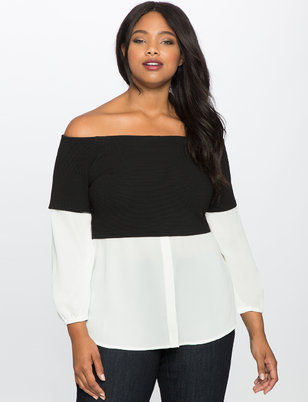 Long Sleeve Off the Shoulder Twofer Top