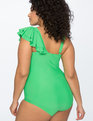 Ruffle One Shoulder Swimsuit EMERALD