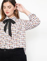 Conversational Tie Neck Blouse No Boys Allowed