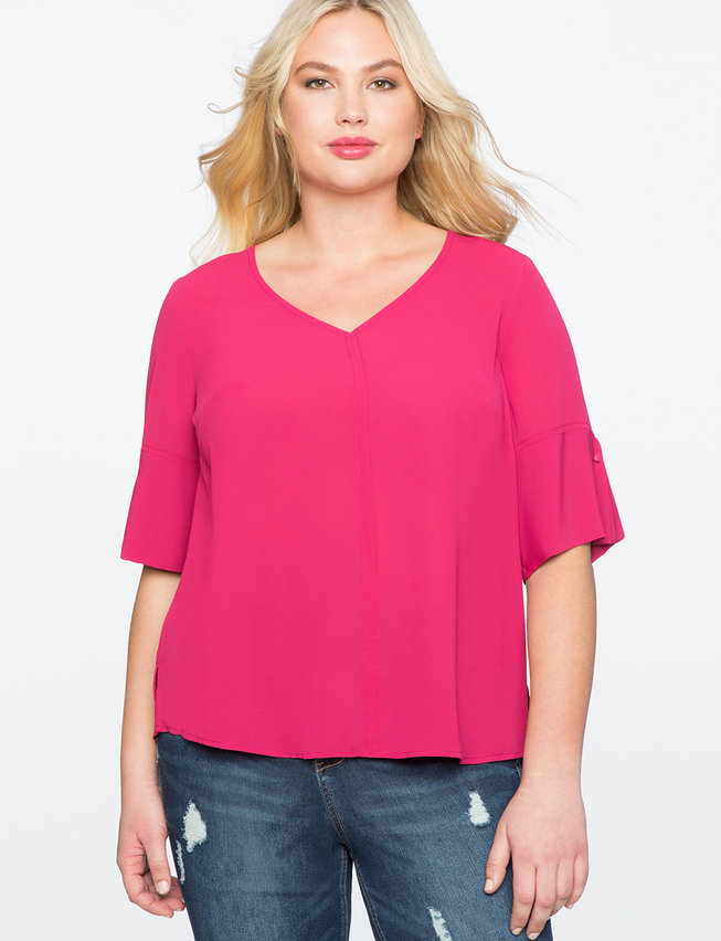 V-Neck Top with Button Sleeve Detail
