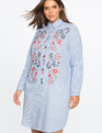 Embroidered Shirt Dress Blue + White