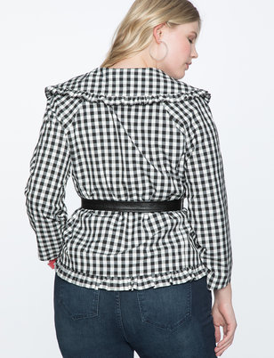 Ruffle Trimmed Gingham Jacket With Belt