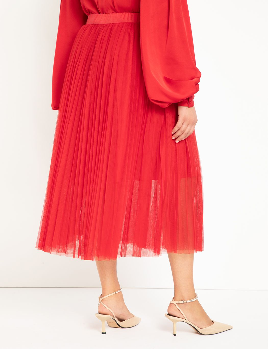 Pleated Tulle Maxi Skirt