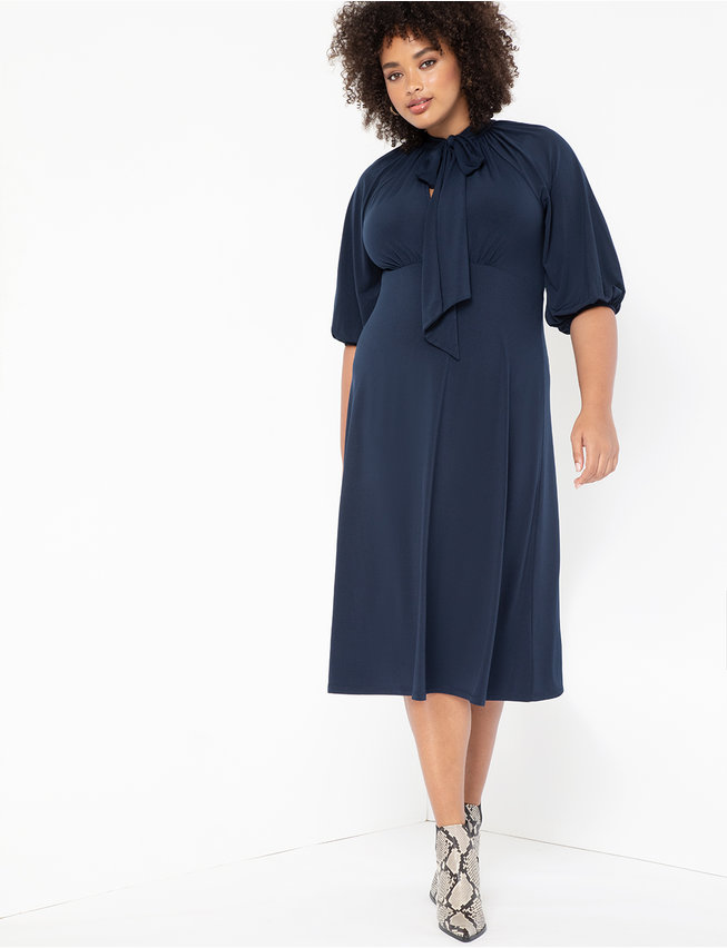 Puff Sleeve Tie Neck Midi Dress