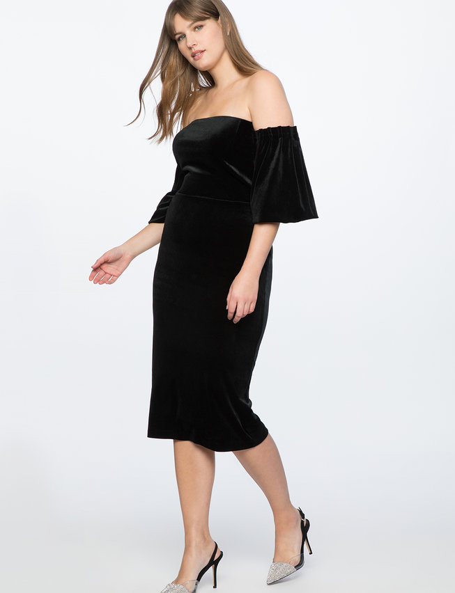 Strapless Velvet Dress with Full Sleeves