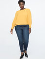 Puff Sleeve Top with Pearl Details Marigold