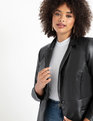 Faux Leather Blazer Black