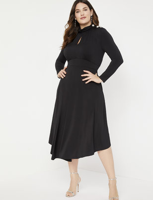 Keyhole Mock Neck Dress with Button Detail