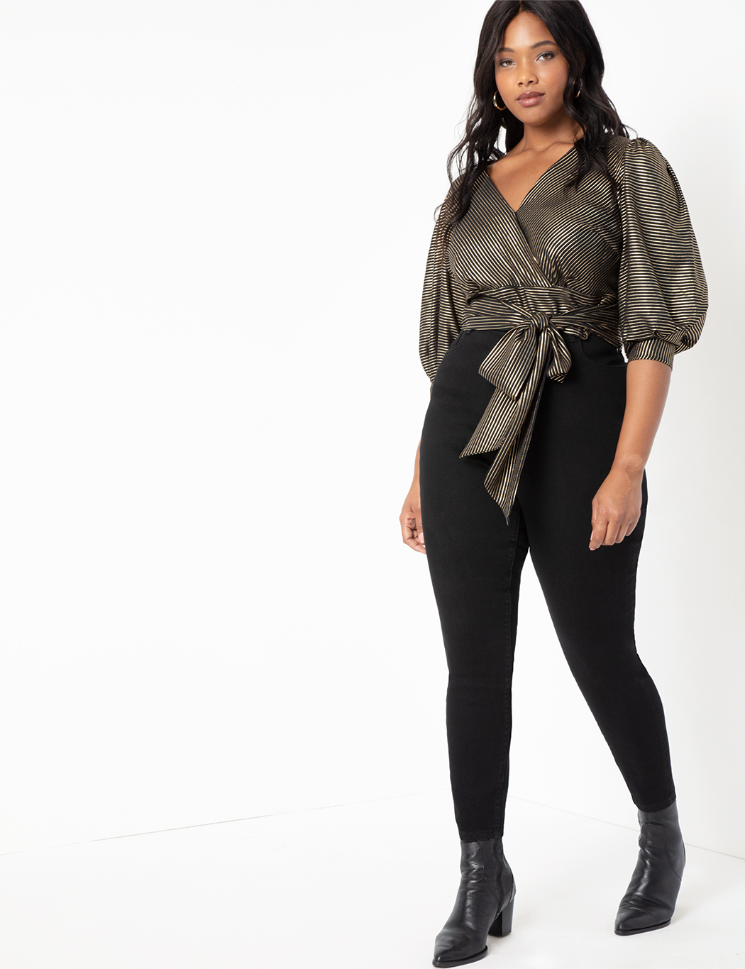 Dramatic Puff Sleeve Wrap Top