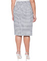 Novelty Textured Column Skirt Navy/White