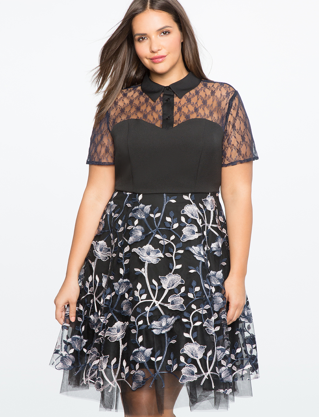 Embroidered Mesh Dress | Women\'s Plus Size Dresses | ELOQUII