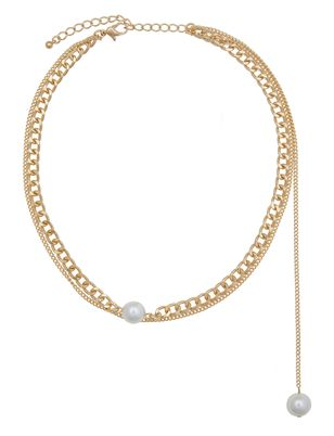 Asymmetric Pearl Chain Necklace