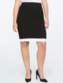 Contrast Trim Pencil Skirt Black + White