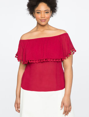 Off the Shoulder Top with Tassels