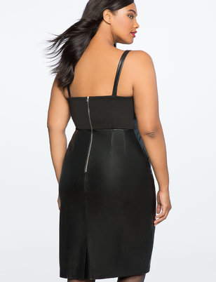 Faux Leather Tie Bodice Dress
