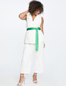Sleeveless Jacket with Contrast Belt Soft White/Medium Green