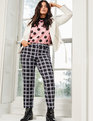 Printed Blouse with Bow Cuff Pink and Black Polka Dot