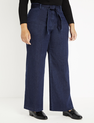 Viola Fit Belted High Rise Wide Leg Denim