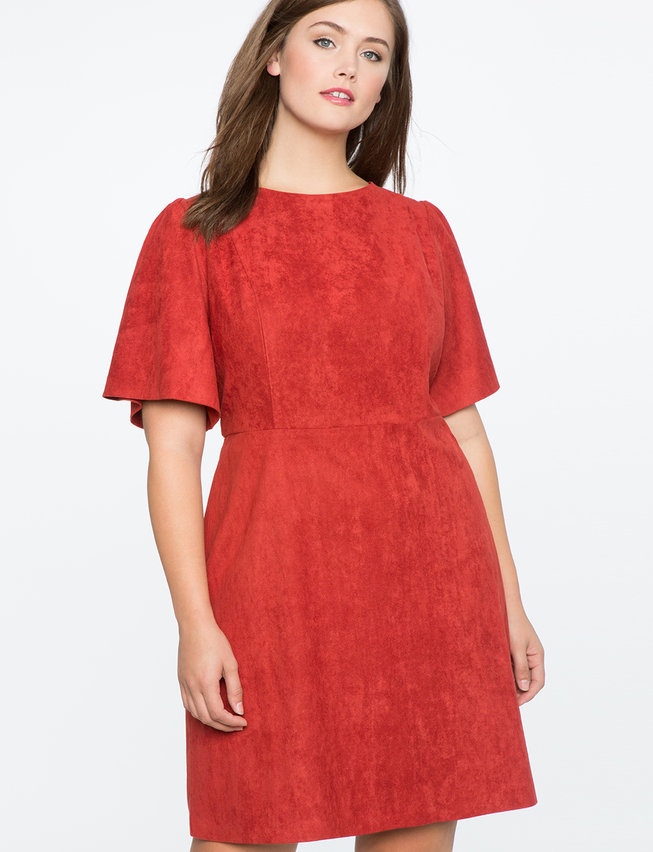 Faux Suede Flare Sleeve Dress