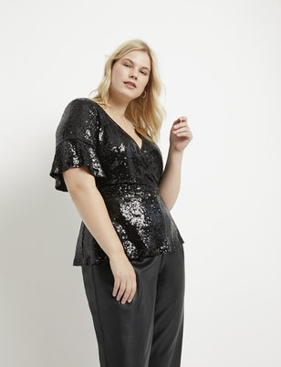 Sequin Surplice Top with Peplum