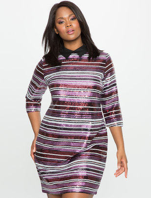 Sequin Stripe Dress with Collar