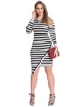 Asymmetrical Hem Striped Dress Black / White