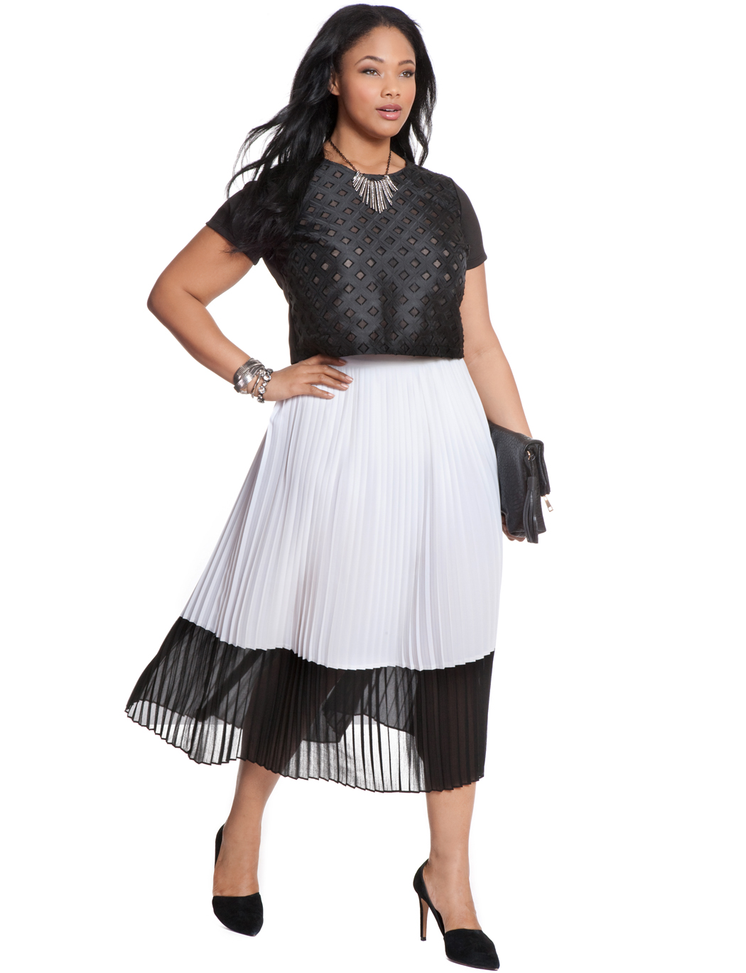 Contrast Pleated Skirt