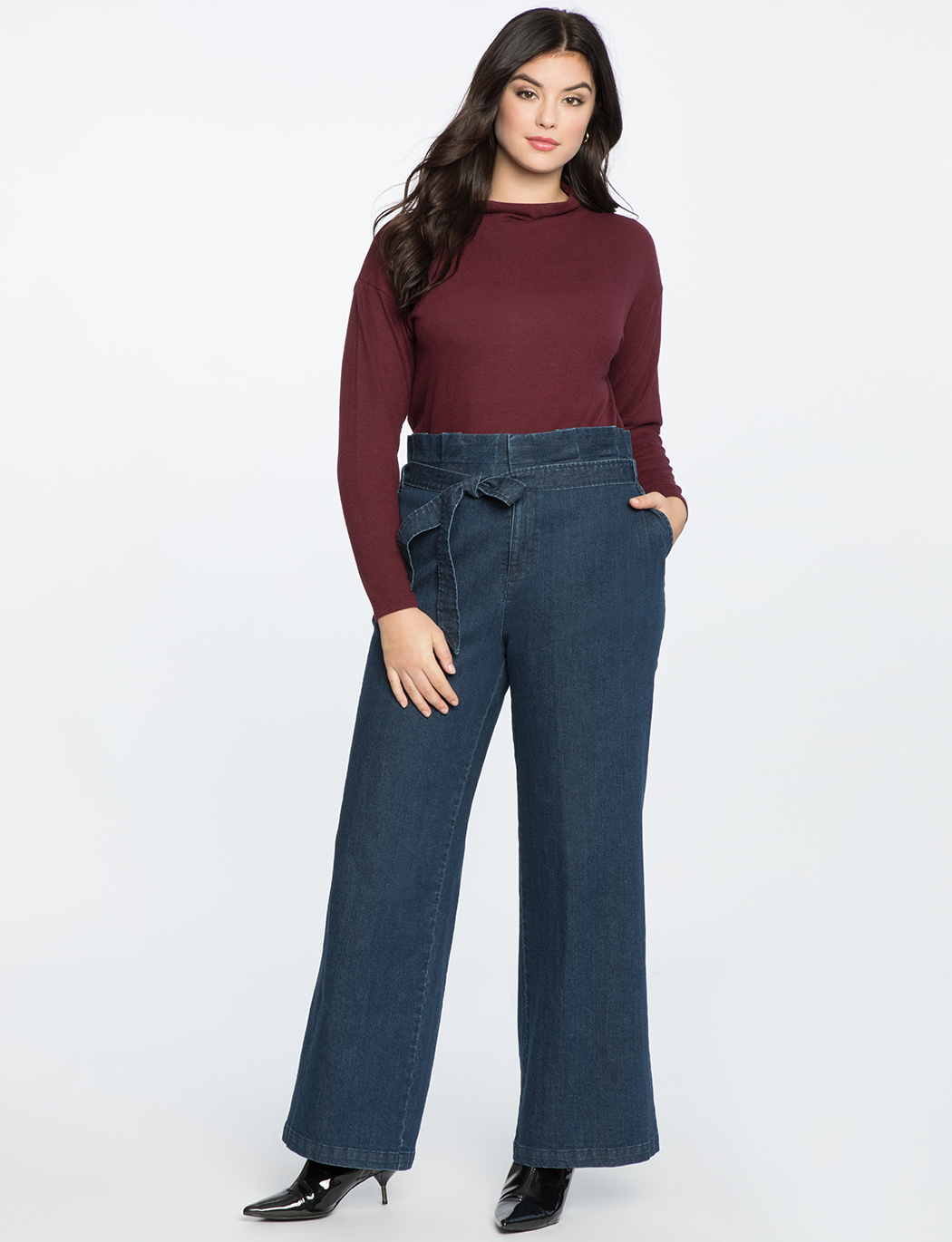 099e775c Ruffle Waisted Wide Leg Trouser Jean | Women's Plus Size Pants ...