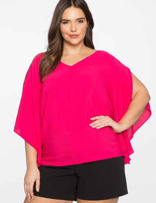V-Neck Slit Sleeve Top