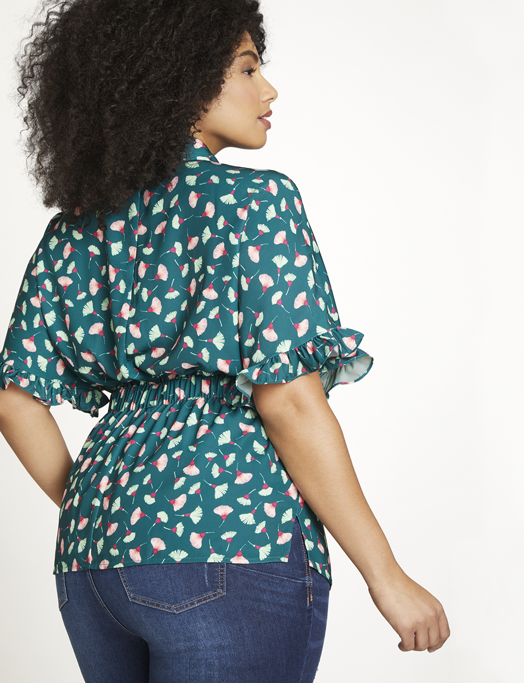 Printed Top with Ruffle Sleeve