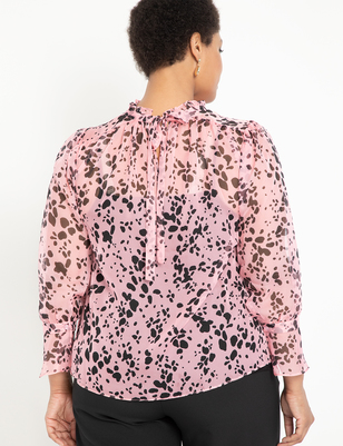 Printed Sheer Ruffle Neck Blouse