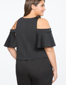 Cold Shoulder Flounce Detail Top Black