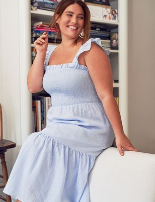 Smocked Bodice Ruffle Day Dress