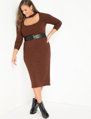 Ribbed Midi Dress With Neck Detail