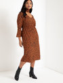 Printed Flare Sleeve Dress with Scarf Squiggle It