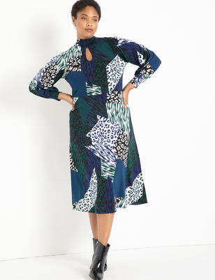 A-line Dress with Puff Sleeves