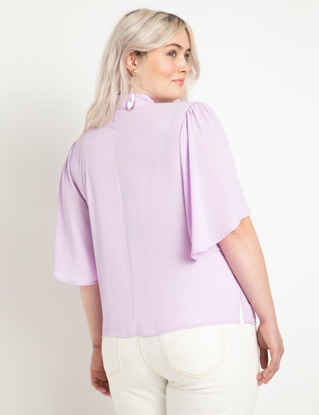 Bow Blouse with Flutter Sleeve