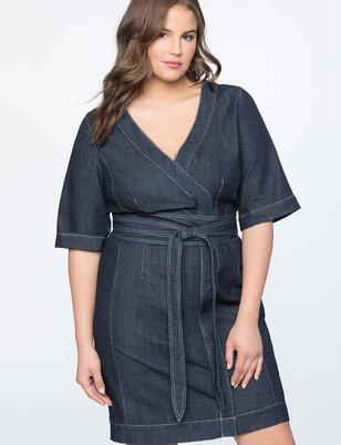 Denim Wrap Waist Dress