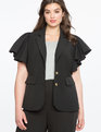 Studio Ruffle Sleeve Blazer BLACK