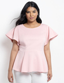 Flare Sleeve Peplum Top Blush