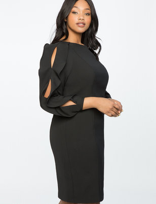 Slit Sleeve Work Dress