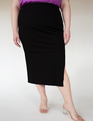 Ribbed Column Skirt with Slit Black