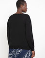 Fine Knit V Neck Sweater Totally Black