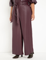 Tie Waist Wide Leg Faux Leather Pant Wine Tasting