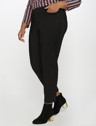 Kady Fit Double-Weave Pant with Faux Leather Side Stripe