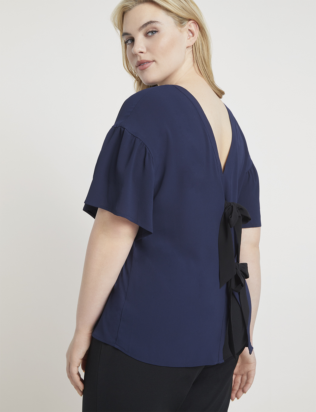 Flounce Sleeve Top with Bow Back