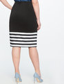 Contrast Striped Pencil Skirt TOTALLY BLACK/TRUE WHITE