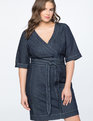 Denim Wrap Waist Dress Dark Wash