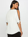 Split Sleeve Contrast Top White with Black Binding