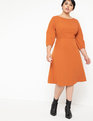 A-Line Lantern Sleeve Dress Peppery Picante